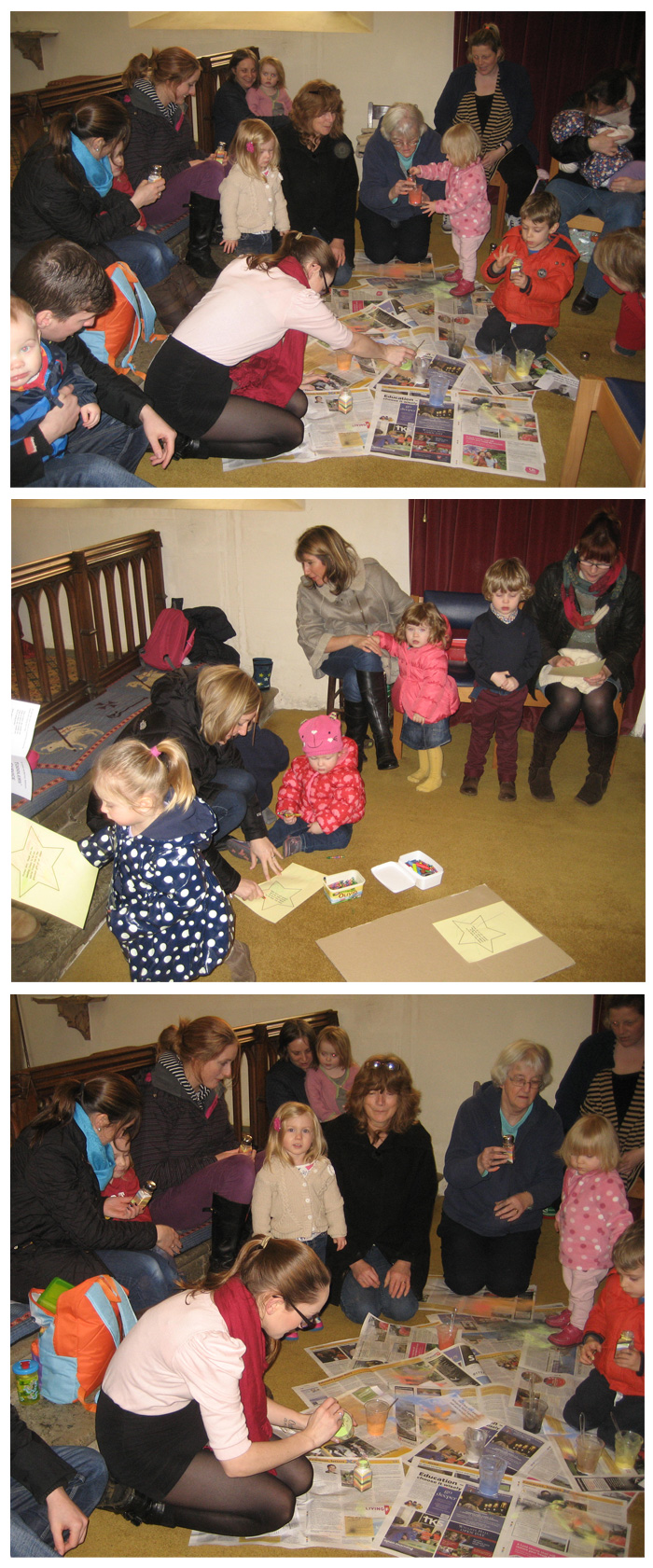 Some of our toddlers and their mums and dads who come along to enjoy learning about the Church.